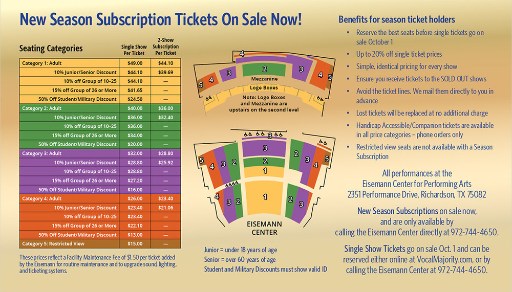 Click to enlarge seating categories info.