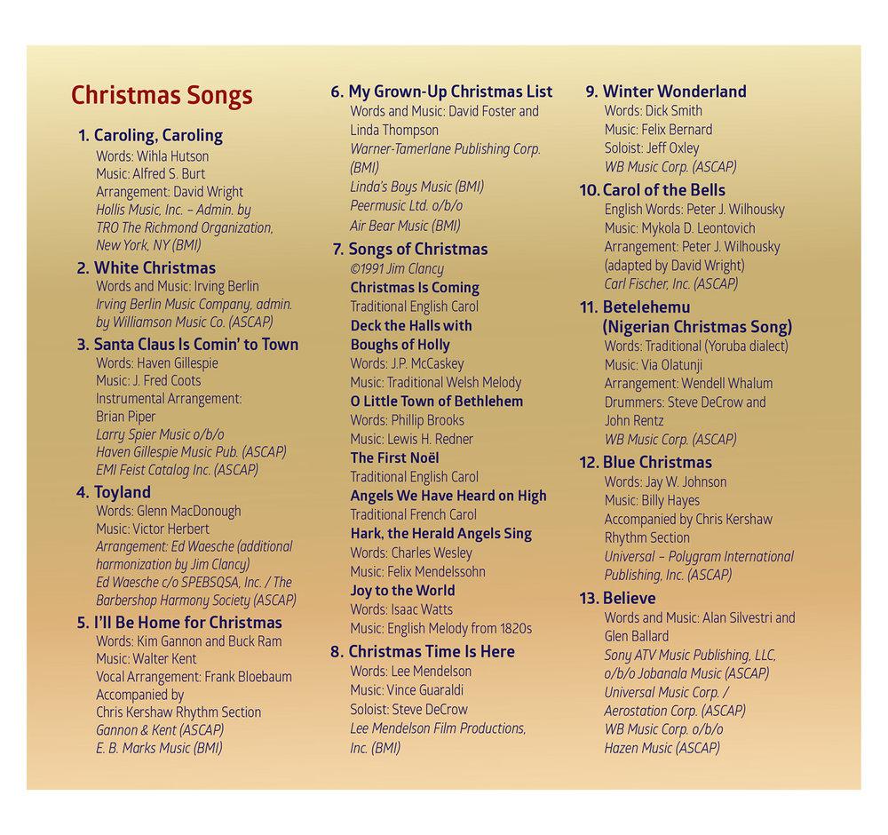 Song List CD 1: Comfort & Joy