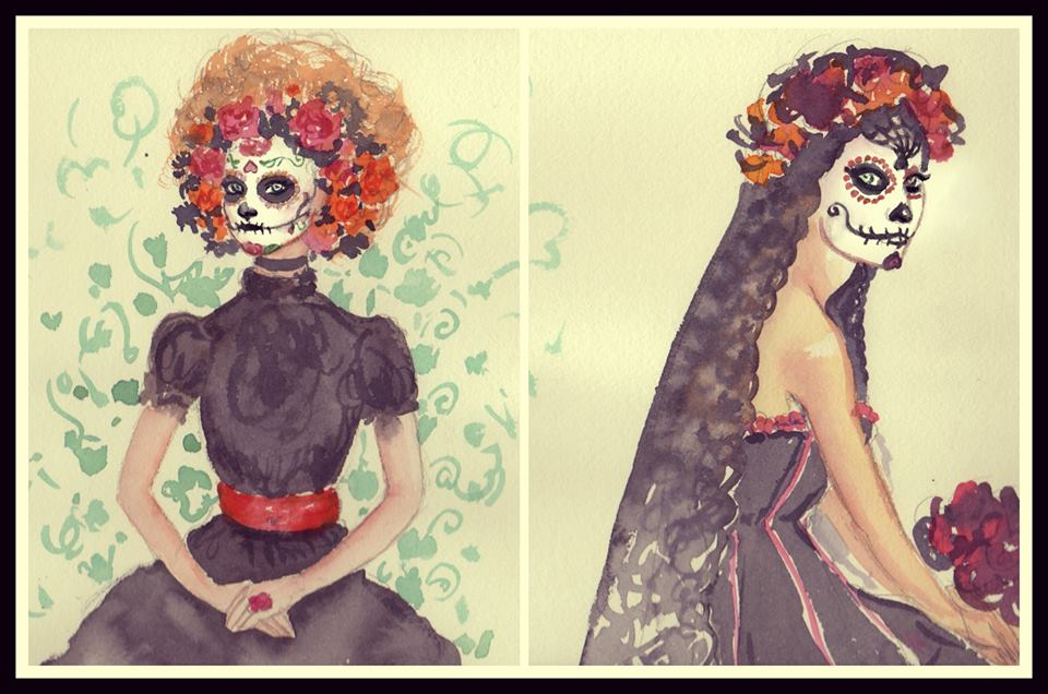 My sketches for La Catrina, (Day of the Dead Skeleton).