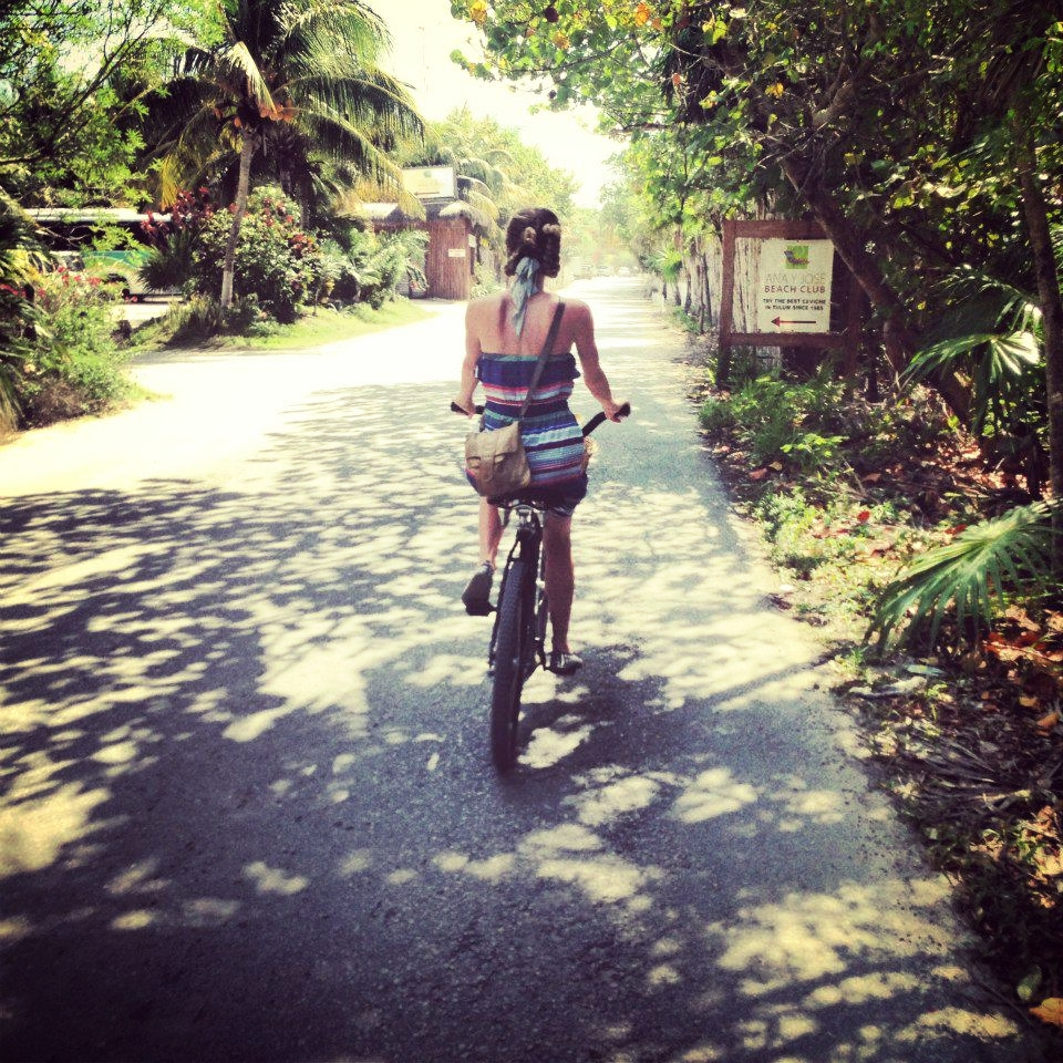 Cycling the narrow roads along Boca Paila.