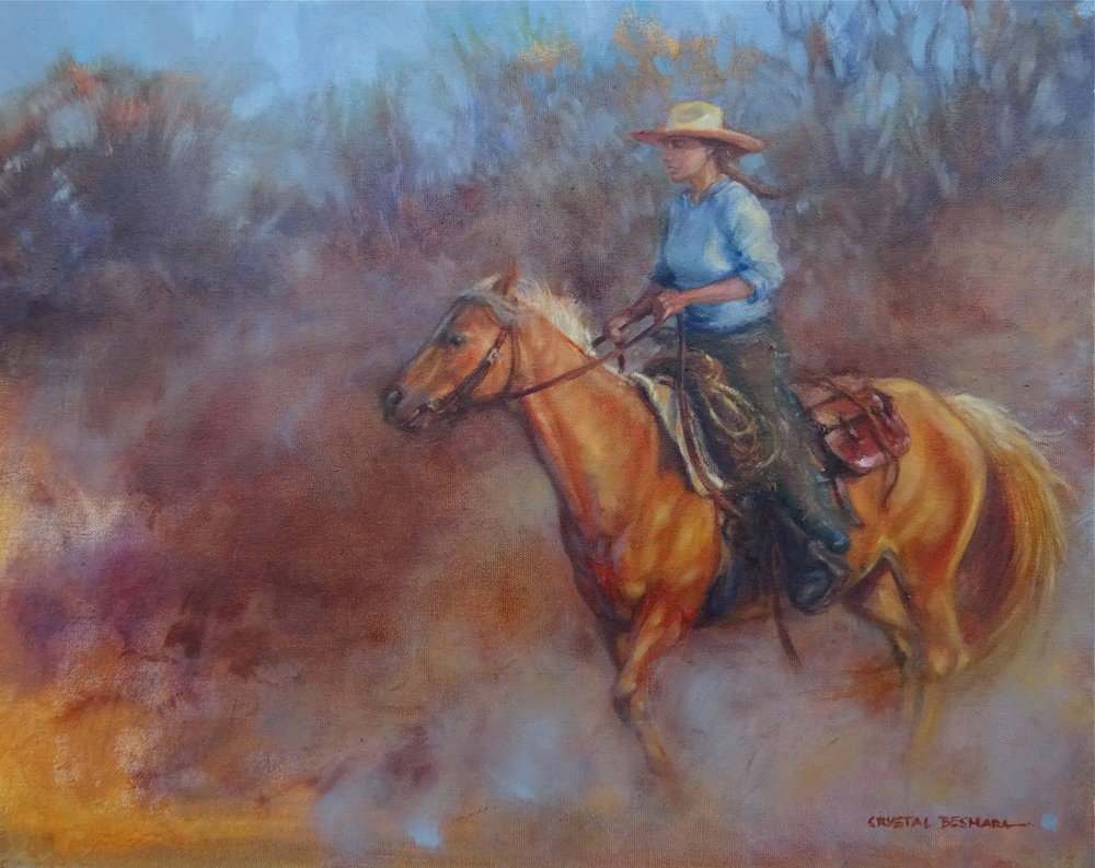 """Round Up"" Oil on Canvas"