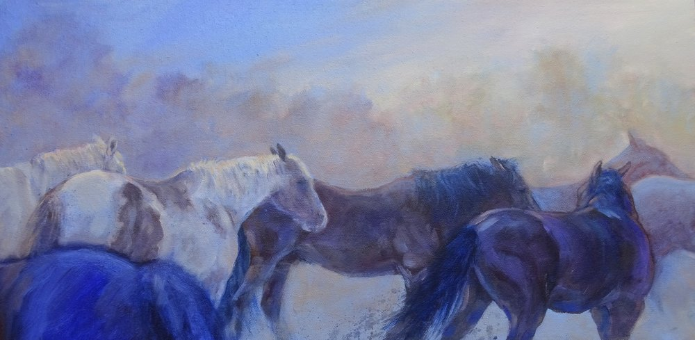 """""""Jockeying for Position"""" 12"""" x 24"""""""