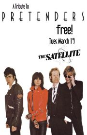 We are excited to be part of     The Pretenders - tribute night     at the Satellite March 19    With  Anna Waronker, Rachel Hayden (That Dog)   Joey Santiago (Pixies)  and Patty Schemel (Hole)  A Tribute to The Pretenders at The Satellite! Free entry.  Featuring performances by:   Anna Waronker (with Rachel Haden & Patty Schemel)  https://www.facebook.com/AnnaWaronker     Russian Bones  http://russianbones.com/   Ethan Gold  https://www.facebook.com/ethangoldmusic   Act As If w/ Rachel Cantu  https://www.facebook.com/actasifmusic    Kat Kong  https://www.facebook.com/wearekatkong    The Long Fall  https://www.facebook.com/TheLongFall    Cobalt Cranes  https://www.facebook.com/cobaltcranesband    Paper Pilots  https://www.facebook.com/paperpilotsmusic