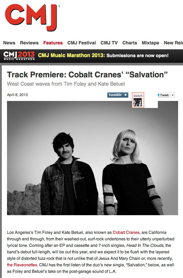 CMJ Premieres our new song 'Salvation'-Read our interview and stream 'Salvation' here: CMJ
