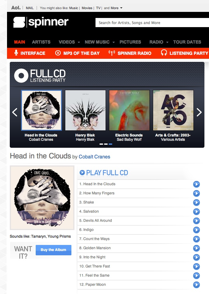 Stream our debut album 'Head In The Clouds' all week for free on AOL SPINNER here:  SPINNER