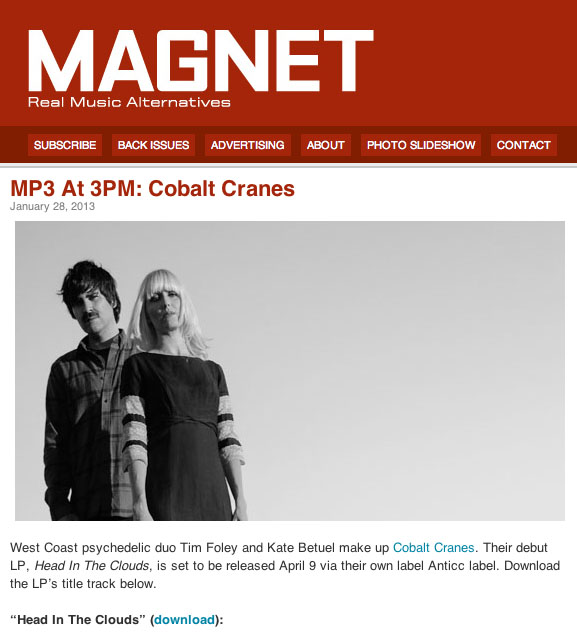 Download 'Head In The Clouds' from Magnet Magazine MP3 At 3pm:   Follow the link:   Magnet Magazine