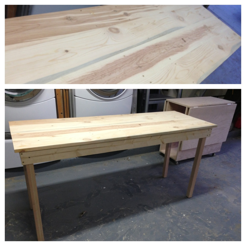 Top: plank wood top of office desk. Bottom: long office desk on left, folding craft table on right.