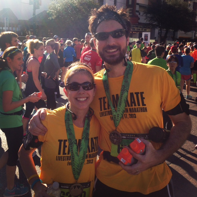 At the finish line of the Austin Half-Marathon!