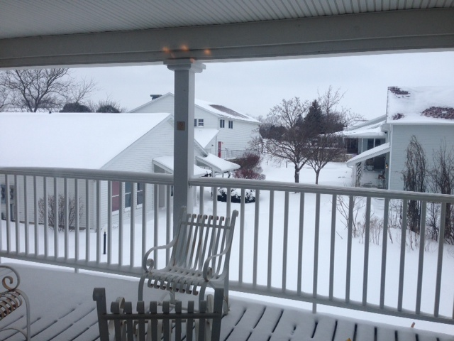 Snow on Christmas Morning off our B&B porch