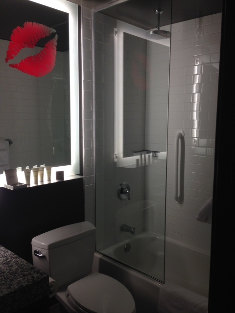 Our bathroom at the ACME Hotel - the lips glowed red when the lights were off!