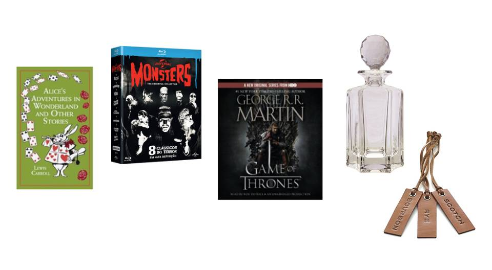 Left to right: Alice's Adventures in Wonderland and Other Short Stories, Classic Monsters Blu-Ray Collection, Game of Thrones Audiobooks, Vintage decanter, Crate & Barrel leather labels