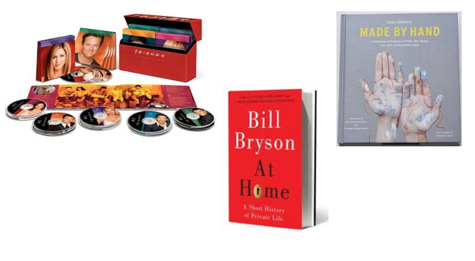 "Left to right: The Friends dvd collection, Bill Bryon ""At Home"", Made by Hand"