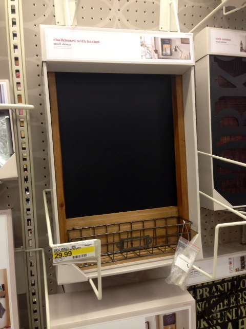 Chalkboard with Basket, $30