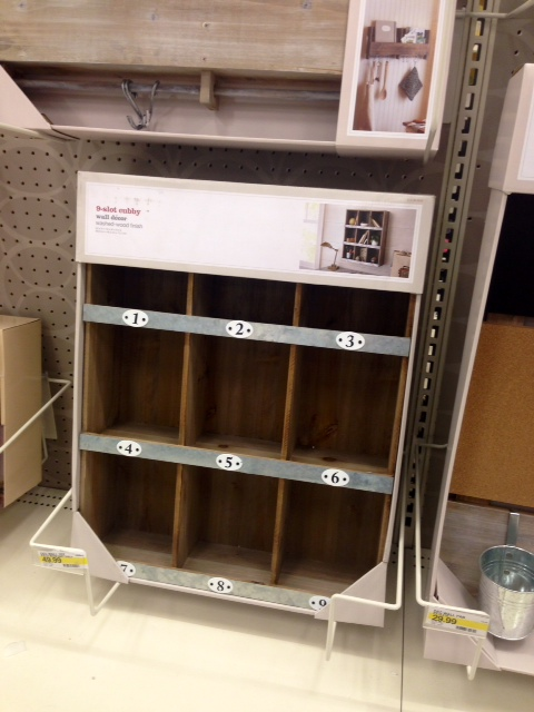9-slot wall cubby, $50