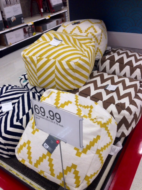 Multicolored Poufs, $70