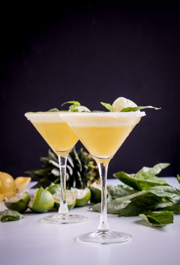 Pineapple Basil Rum Fizz, recipe at  Blogging over Thyme