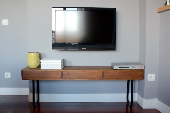 DIY Wood TV Console by  A Little Bite of Everything