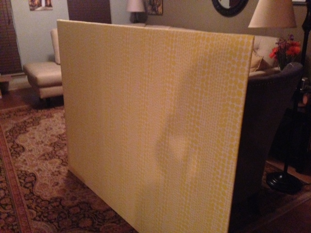 Step Five: Prop fabric-wrapped headboard up, stand back and admire your handiwork.