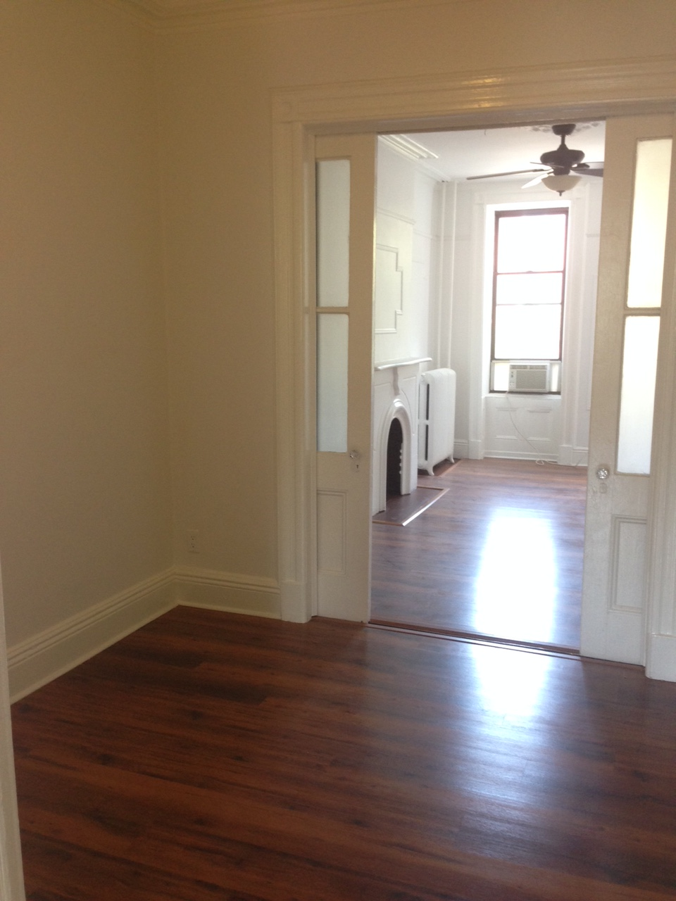 View of our office from living room doorway. French doors lead into master bedroom.