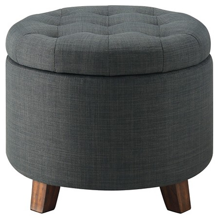 Tufted Storage Ottoman in Charcoal (Available in Other Colors)