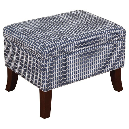 Flared Leg Storage Ottoman in Blue Print (Available in Other Color)