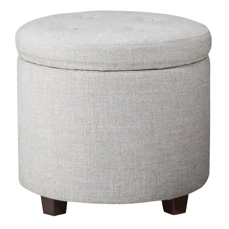 Round Tufted Storage Ottoman in Gray Textured Weave