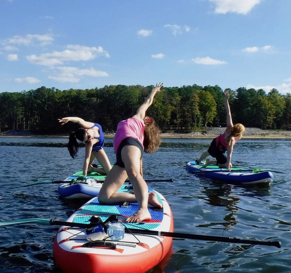 All Stand up Paddleboard Yoga classes on Jordan Lake, NC include our own special SAFETY anchors to help keep you in place while you strike a pose
