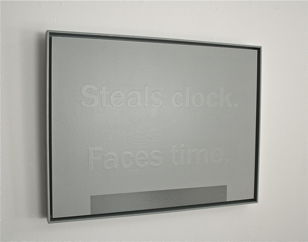 Steals Clock. Faces Time, 2012; acrylic on canvas; 18 x 24""