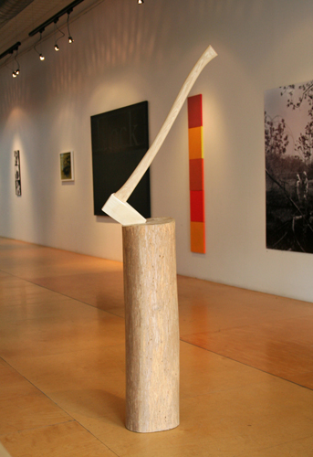 "Chicken Block, 2011; pine, bass, ash, and hickory woods 65"" X 24"" X 20"""