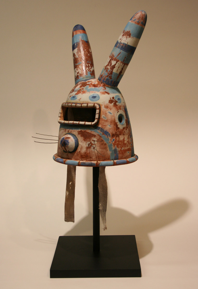 Bunny Helmet   stained and glazed terra cotta, 2008