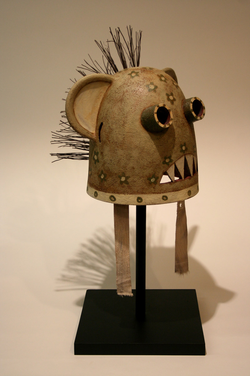 Bear Helmet   glazed and stained terra cotta; 2008