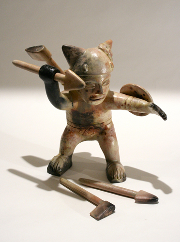 Kitty Action Figure   pit fired terra cotta with terra sigilatta, 2011