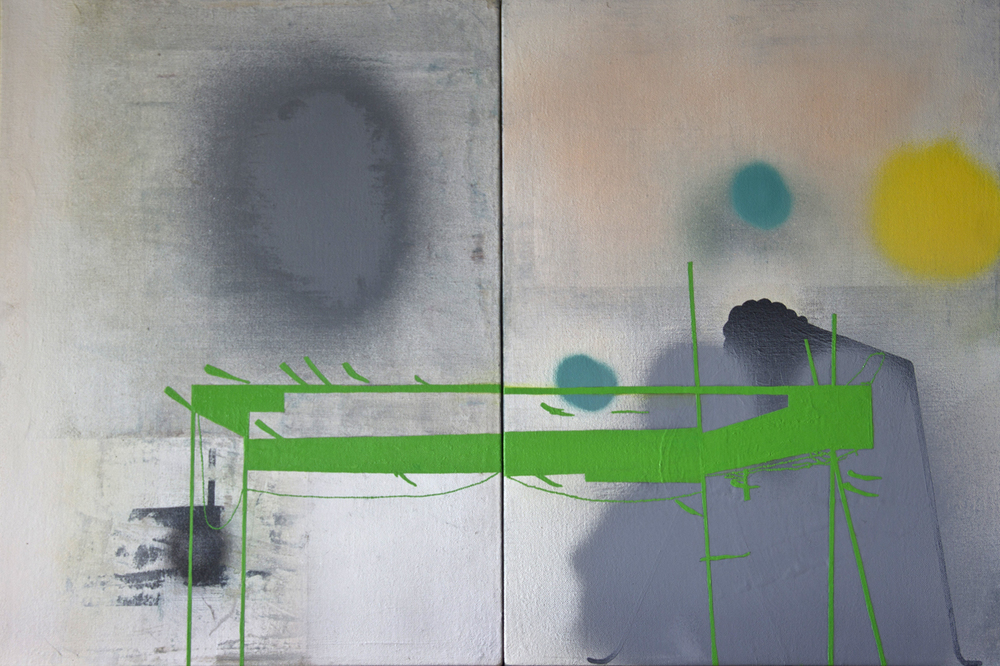 "Green structure, oil and spray paint on linen; 20""x30"""