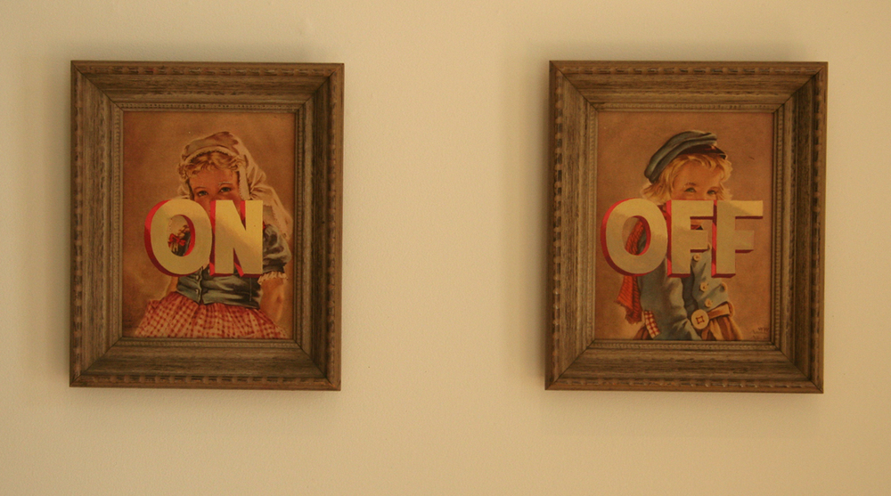 "ON OFF; acrylic on off-set Litho, diptych, 28"" x 44"""