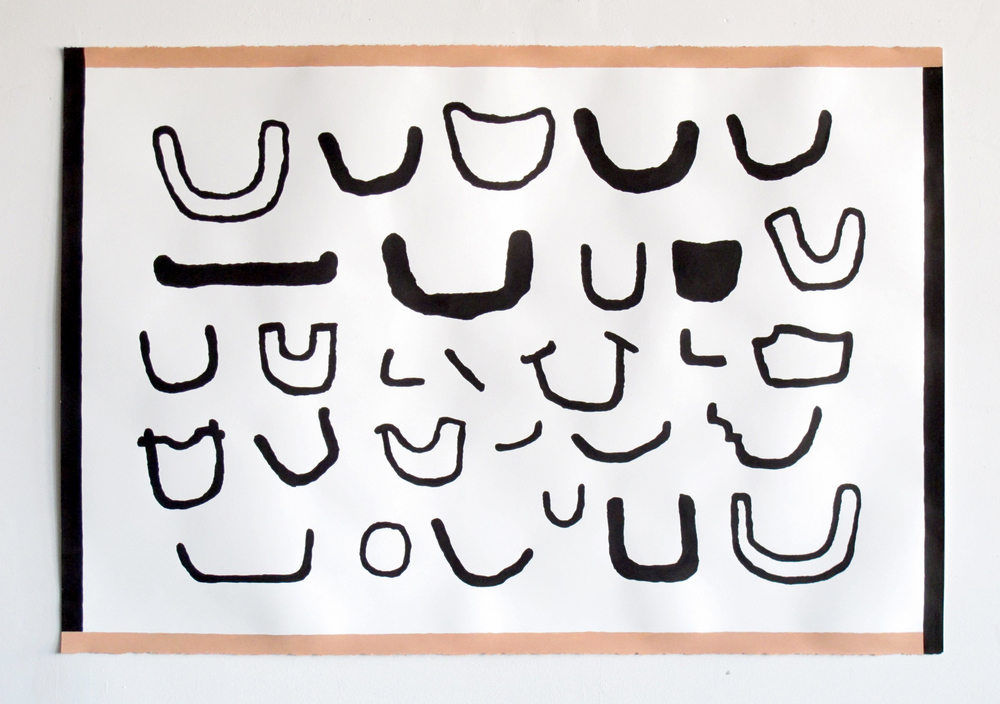 "Chris Roberson,    Smile Variations #2 (racked)    Simu ink and acrylic on paper    44x30""    2013"
