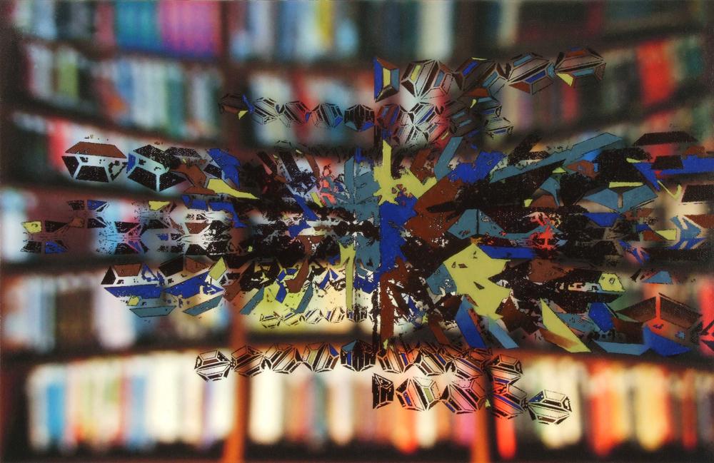 Hans Schmitt-Matzen, Tangent 12  2013, oil on archival digital print on canvas, cast aluminum