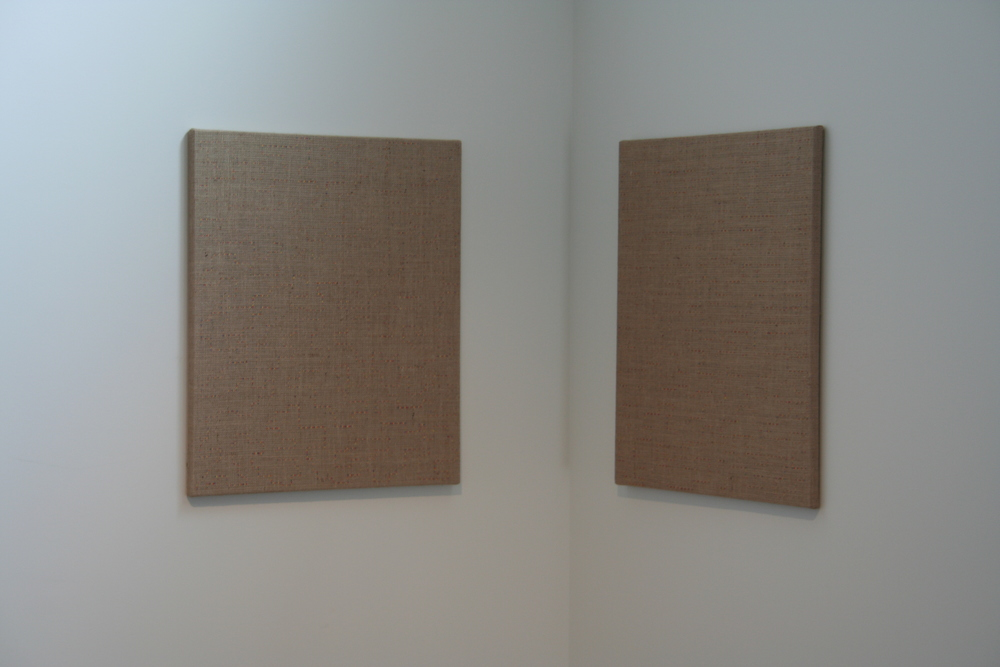Adam Henry; Two Paths One Slightly Longer Than the Other -  2012; synthetic polymers on jute over linen  diptych, each panel 28x24 in.