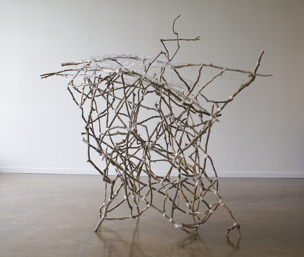 Greg Pond, Ghost in the Canyon  2013, tree limbs, ABS plastic, acrylic, brass, nylon