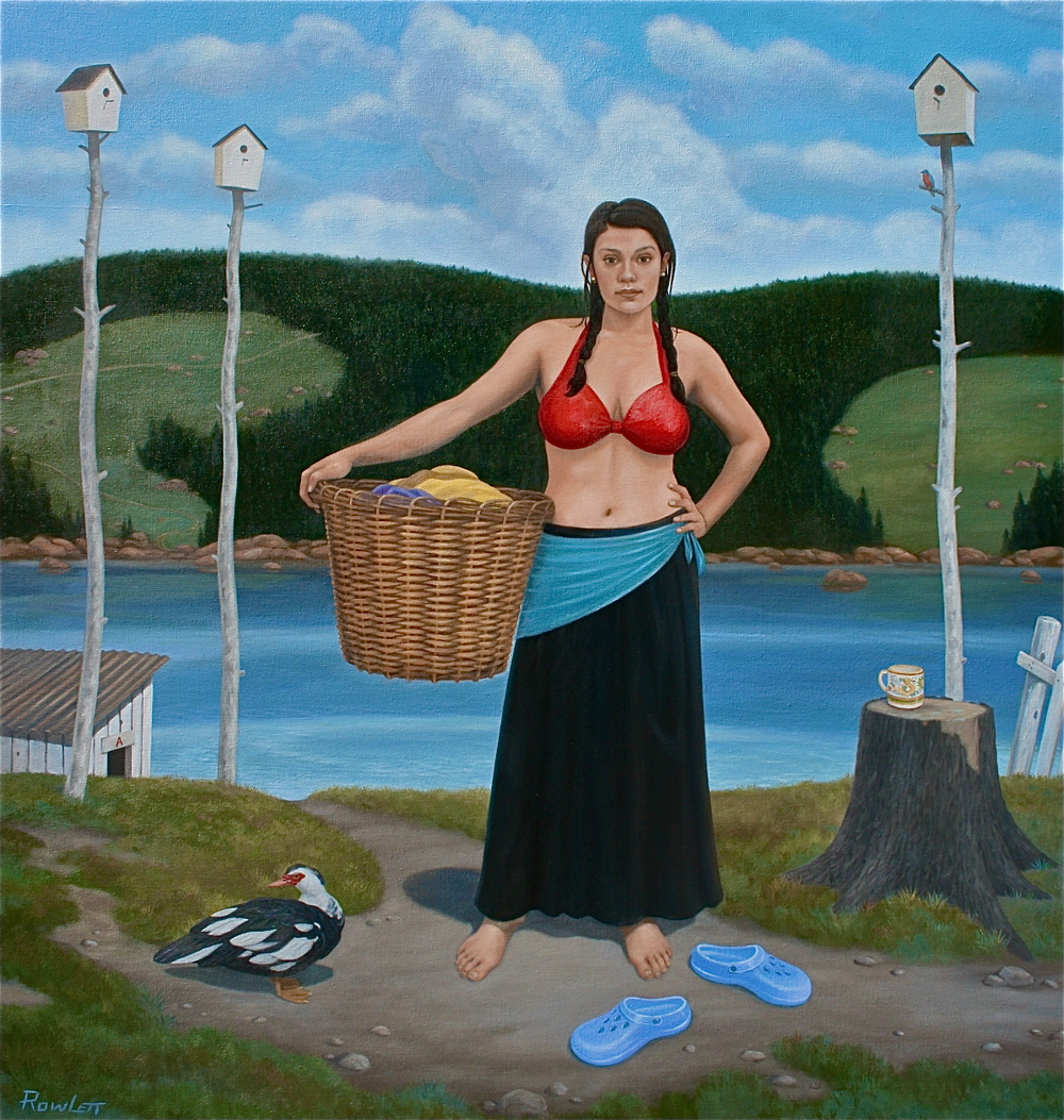 "Laundry Day (the Cleansing), oil on canvas, 2013 42""x40"""