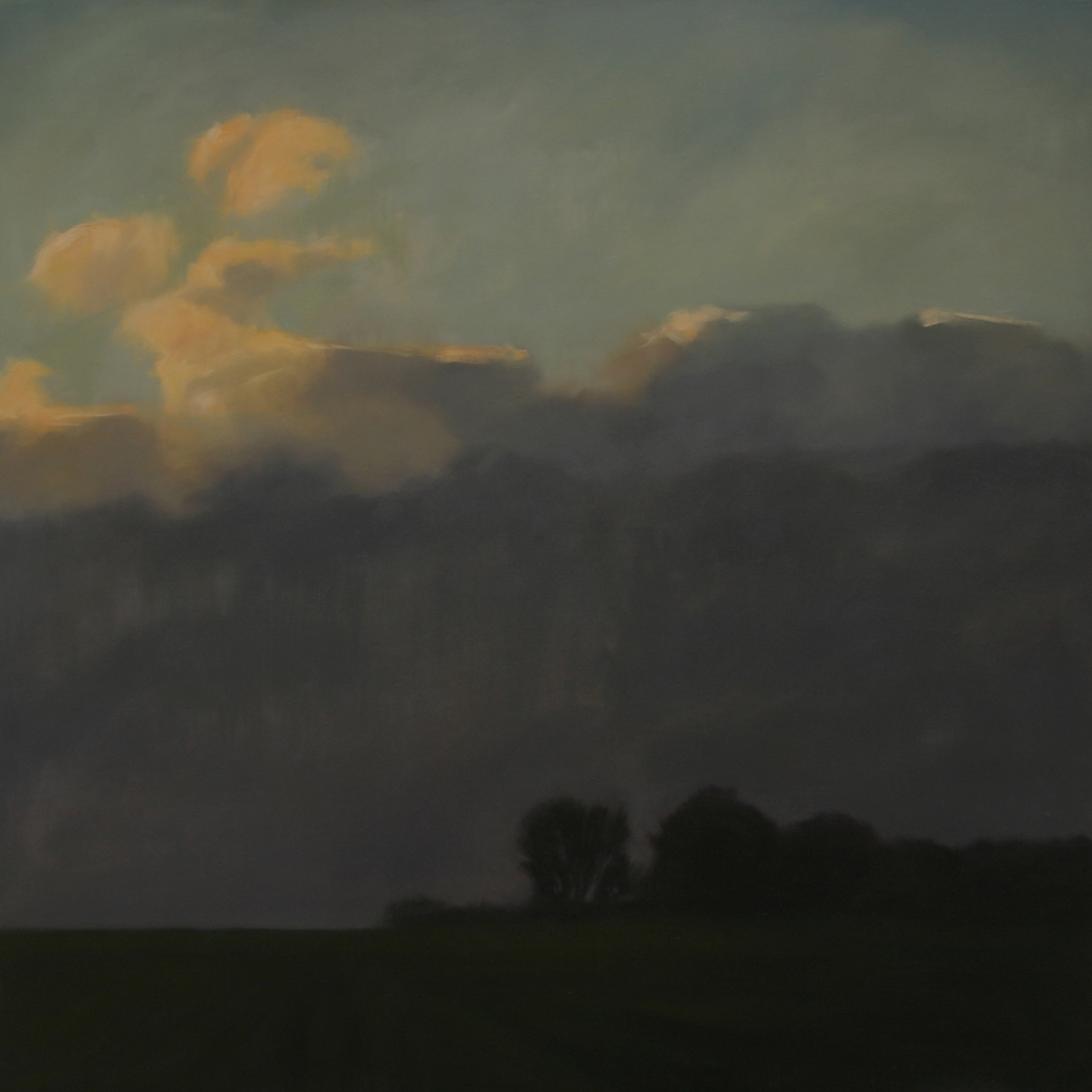 "Building Darkness   2013, oil on canvas, 48""x48"""