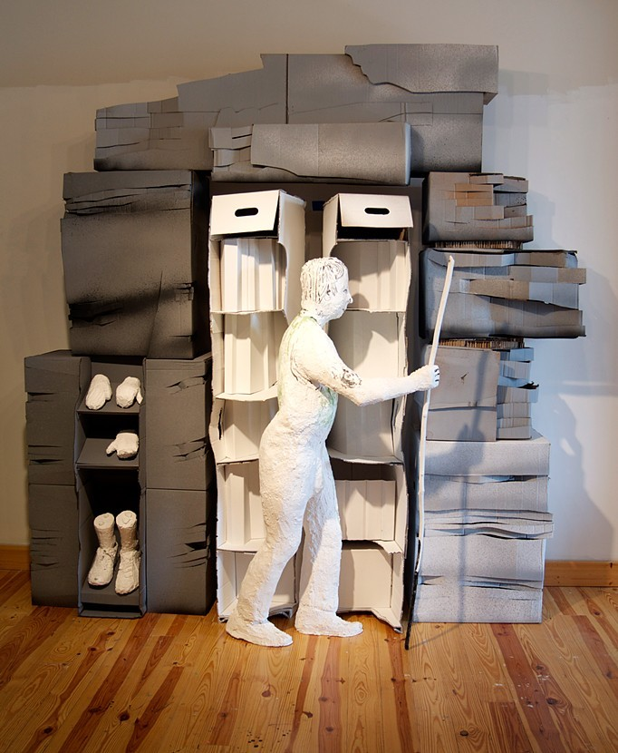 Pulp Mountain (after Belini) 2014, cardboard, hunting decoys and plaster, 9'x9'x3'