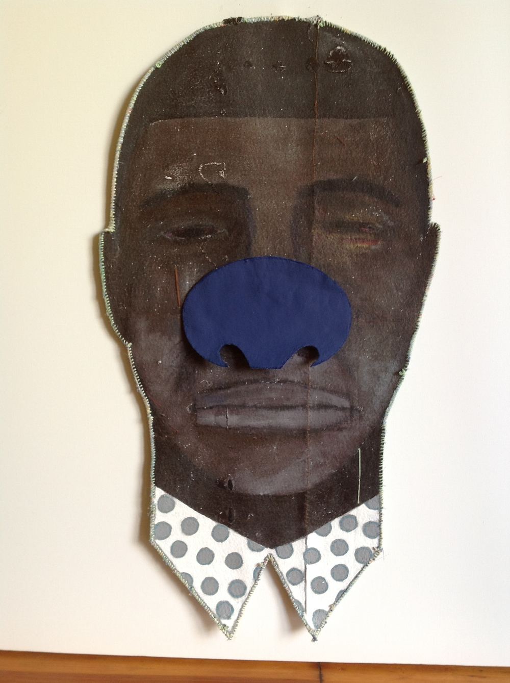 untitled (male blue nose)  2015, mixed media, 32 x 17""