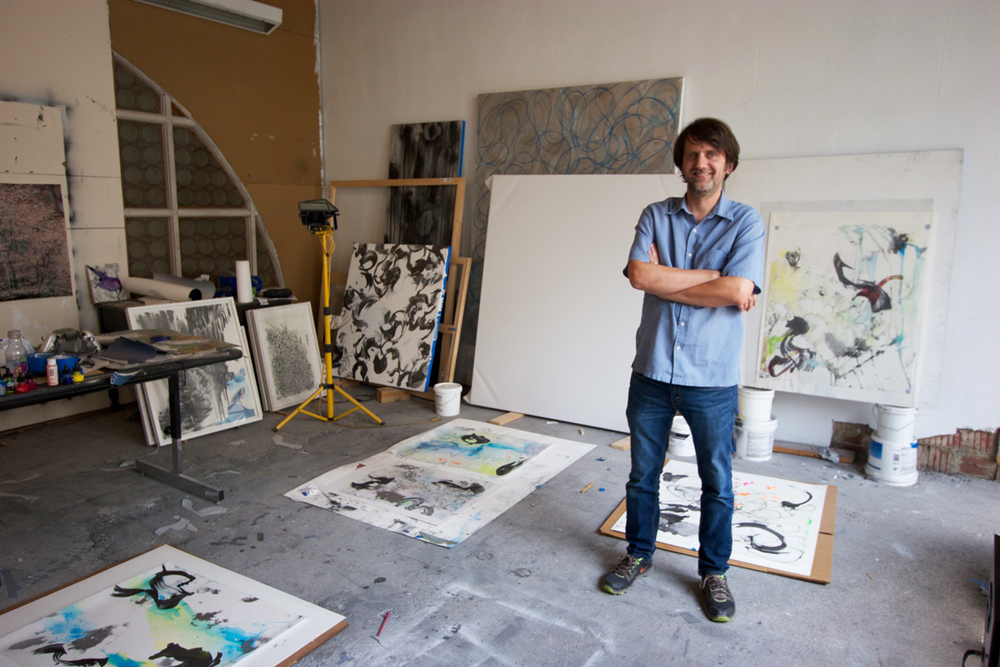 Richard Feaster in his studio