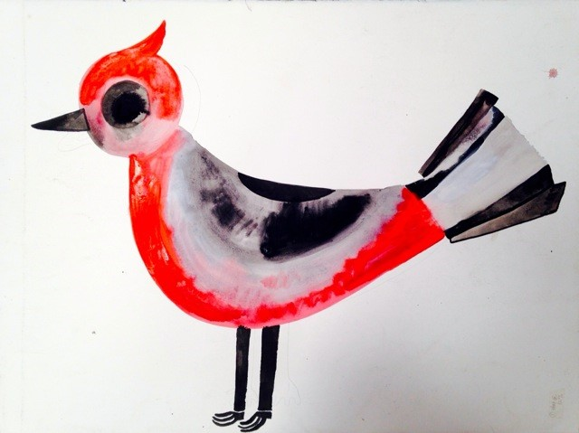 untitled (bird) 2015, flashe and acrylic and collage on paper, 22 x 30""