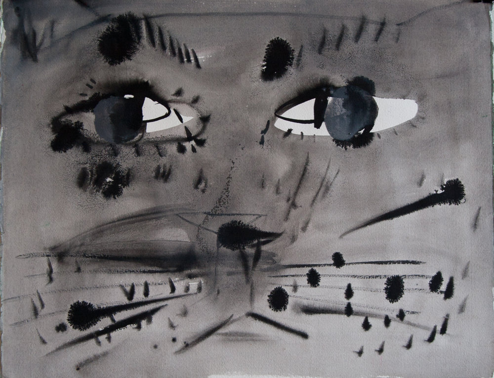 untitled (cat face) 2015, collage, flashe and acrylic on paper, 17 ¼ x 22""