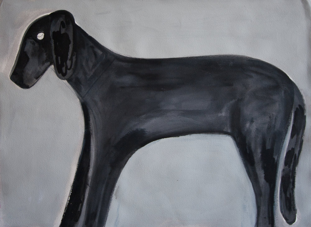 untitled (dog) 2015, flashe and acrylic on paper, 22 ¼  x 30 ¼""