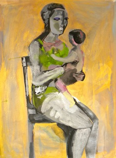 Woman and Baby 2014, gouache on paper