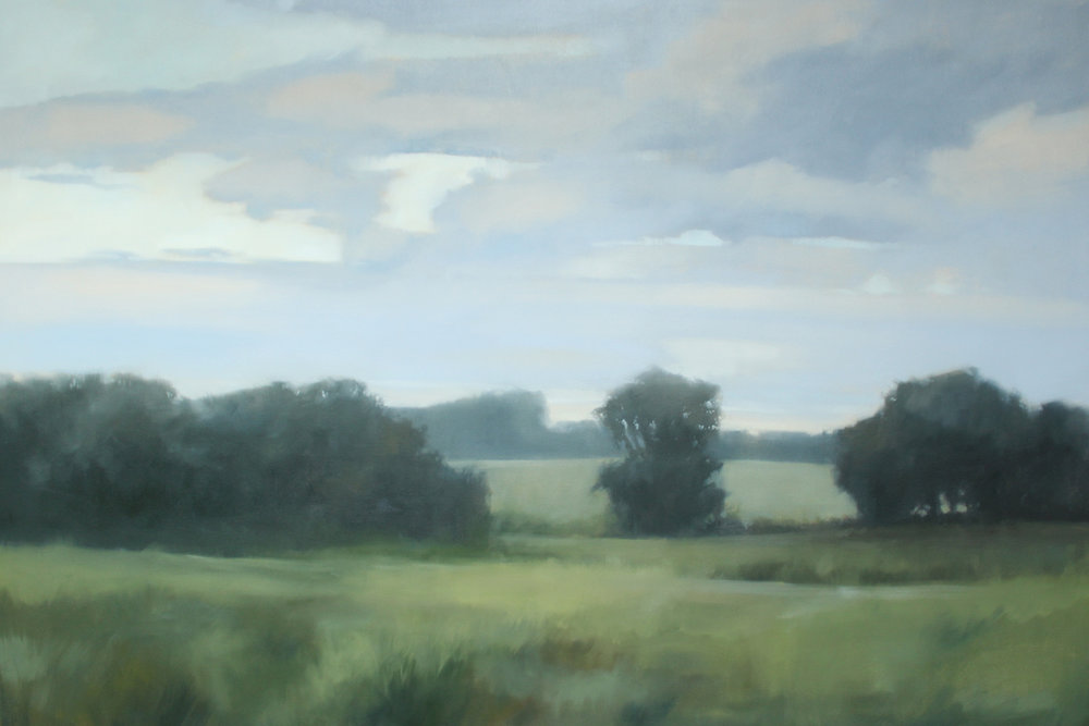 Happily Ever After Farm, Lower Meadow, oil on canvas over panel, 48 x 72 x 2.5 in
