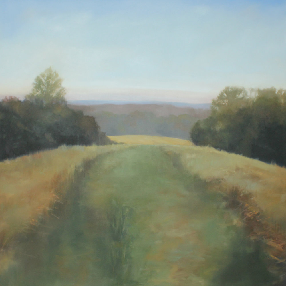 Sycamore Springs Farm Hilltop, oil on canvas over panel, 48 x 48 x 2.5 in