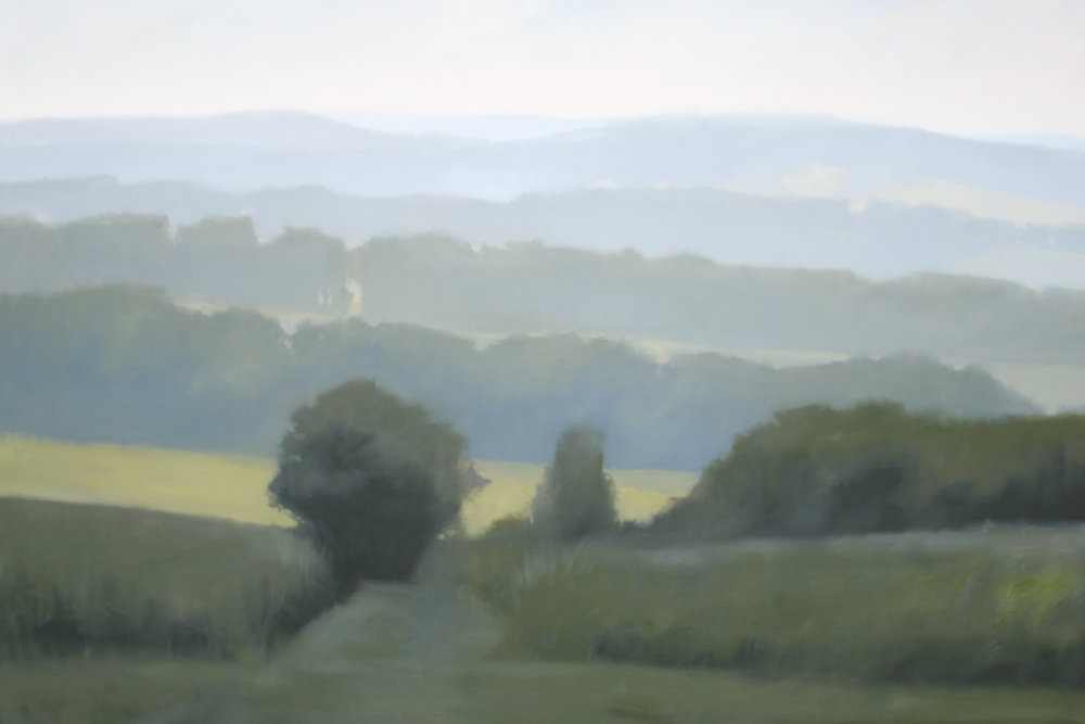 Hilltop View from Milky Way Farm, oil on canvas over panel, 48 x 72 x 2.5 in